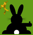 easter wishes sitting and hitchhiking bunny vector image