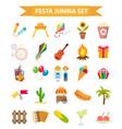 festa junina set icons flat style brazilian vector image