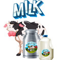 Fresh milk tank and cow vector image vector image