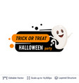 friendly ghost and halloween text vector image vector image