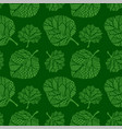 green seamless pattern with hand drawn leaves vector image vector image