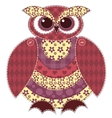 Isolated red patchwork owl vector image vector image