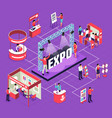 isometric exhibition flowchart composition vector image vector image