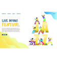 live music festival website landing page vector image vector image