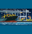 loading containers in the port at night vector image vector image