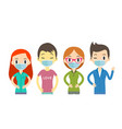 man and women wearing protective medical mask vector image