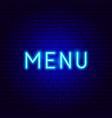 menu neon text vector image