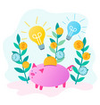 piggy bank saves money and glowing bulbs as a vector image vector image