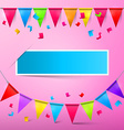 Pink Party Card - Bunting Confetti and Flags with vector image