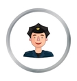 Policeman icon in cartoon style isolated on white vector image