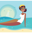 retro summer beach girl vector image vector image