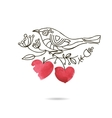 Romantic picture of a bird sitting on a blooming vector image