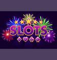 screen logo slots banner on violet background vector image vector image