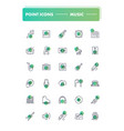 set of 30 line icons music vector image vector image