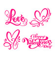 set of red calligraphy word love happy valentines vector image vector image
