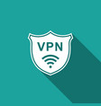 shield with vpn and wifi wireless internet network vector image vector image