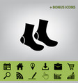 socks sign black icon at gray background vector image vector image