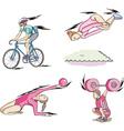 Sports Cycling Rhythmic Gymnastics Trampoline and vector image