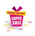 sticker super sale red gift box says super sale vector image vector image