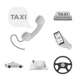 taxi service monochrome icons in set collection vector image vector image
