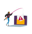 tiny hacker character with rods phishing personal vector image