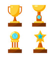 trophy golden awards collection of four cups on vector image vector image