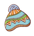 winter knitted hat with pompon vector image