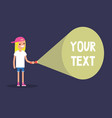 young blond girl holding a flashlight your text vector image