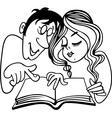 Young couple reading a book vector image vector image