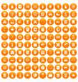 100 school icons set orange vector image vector image
