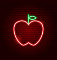 apple neon sign vector image vector image