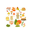 autumn forest elements set forest animals leaves vector image