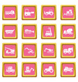 building vehicles icons pink vector image vector image