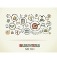 Business hand draw integrated icons set vector image
