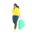 buyer with bag in hand isolated on white vector image vector image