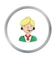 Call center operator icon in cartoon style vector image