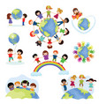 children world happy kids on planet earth vector image vector image