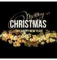 Christmas Background with Shining Gold Snowflakes vector image