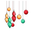 christmas balls hand drawn vector image