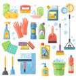 cleaning suppliestools flat icons set vector image