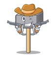 cowboy character of metallic meat tenderizer vector image vector image