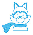 cute cat with scarf cartoon vector image