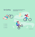 cyclists at bike website vector image vector image