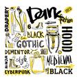 Doodle set dark fashion cyberpunk style vector image vector image