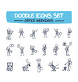 doodle set of drawn office man vector image vector image