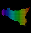 dotted pixel spectrum sicilia map vector image vector image