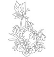 easter egg flowers and butterfly vector image vector image