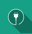 electric plug icon isolated with long shadow vector image