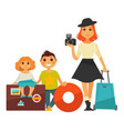 family people travel flat icons woman vector image