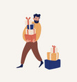 funny cartoon bearded man carrying heap gift vector image